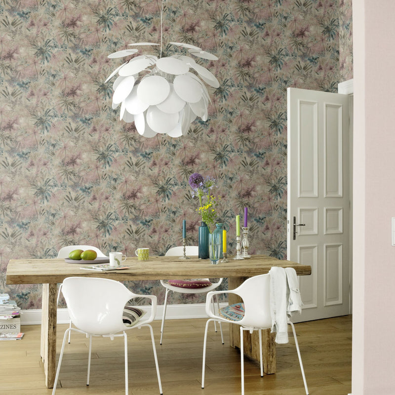 'Wild' Floral painted effect Wallpaper in Natural shades - Your 4 Walls