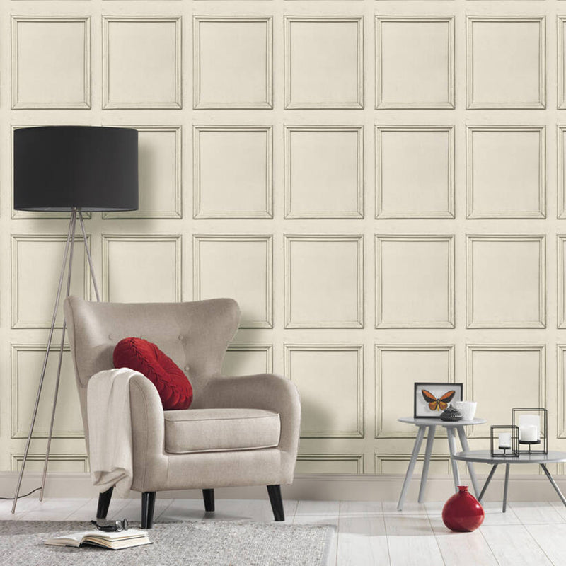 Reclaimed Wood Panel Effect Wallpaper in Cream Taupe - Your 4 Walls