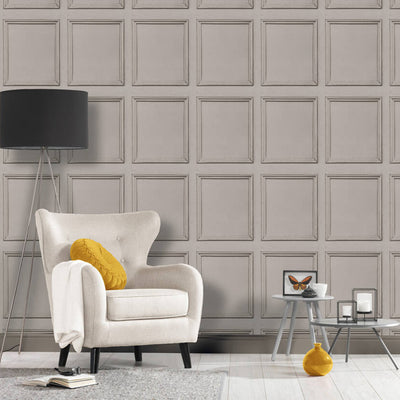 Reclaimed Wood Panel Effect Wallpaper in Grey - Your 4 Walls