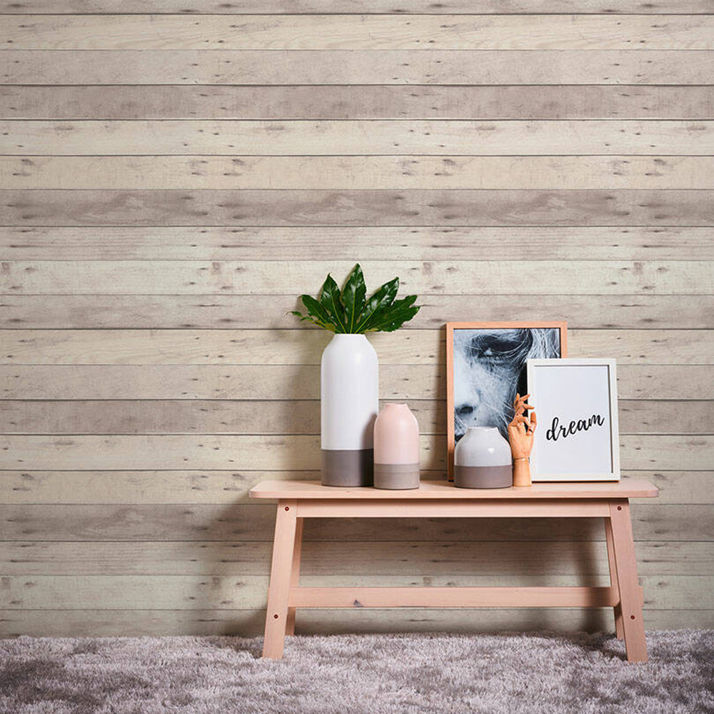 Wood Panel Effect Textured Wallpaper in Natural Grey/Taupe - Your 4 Walls