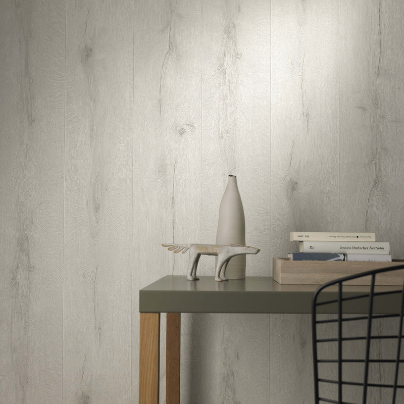 Realistic Wood Plank Effect Textured Wallpaper | Off White - Your 4 Walls