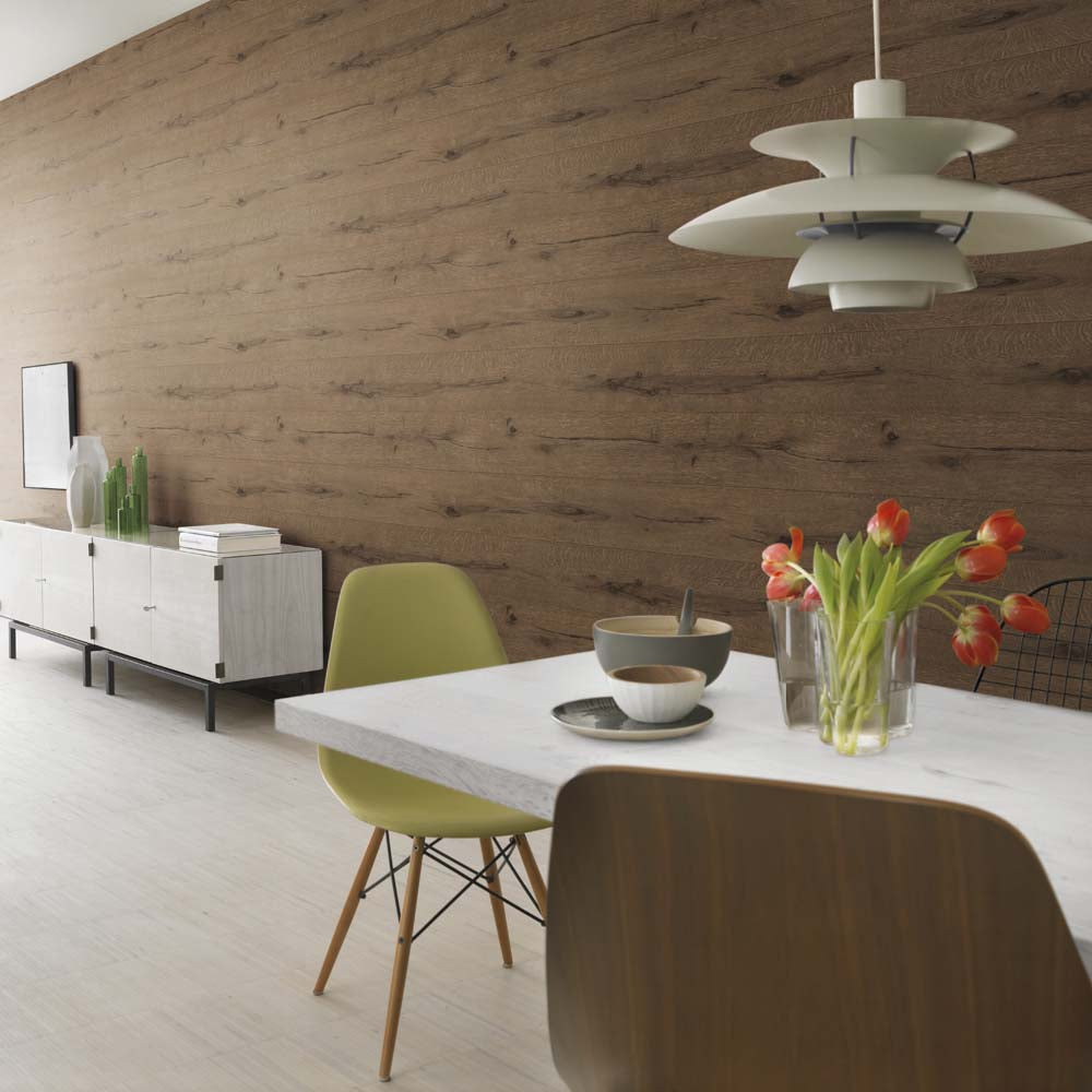 Realistic Wood Plank Effect Textured Wallpaper in Brown - Your 4 Walls