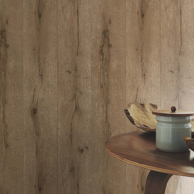 Realistic Wood Plank Effect Textured Wallpaper | Brown - Your 4 Walls