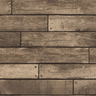 Wooden Planks Wood Panel Effect Faux Wallpaper | Brown - Your 4 Walls