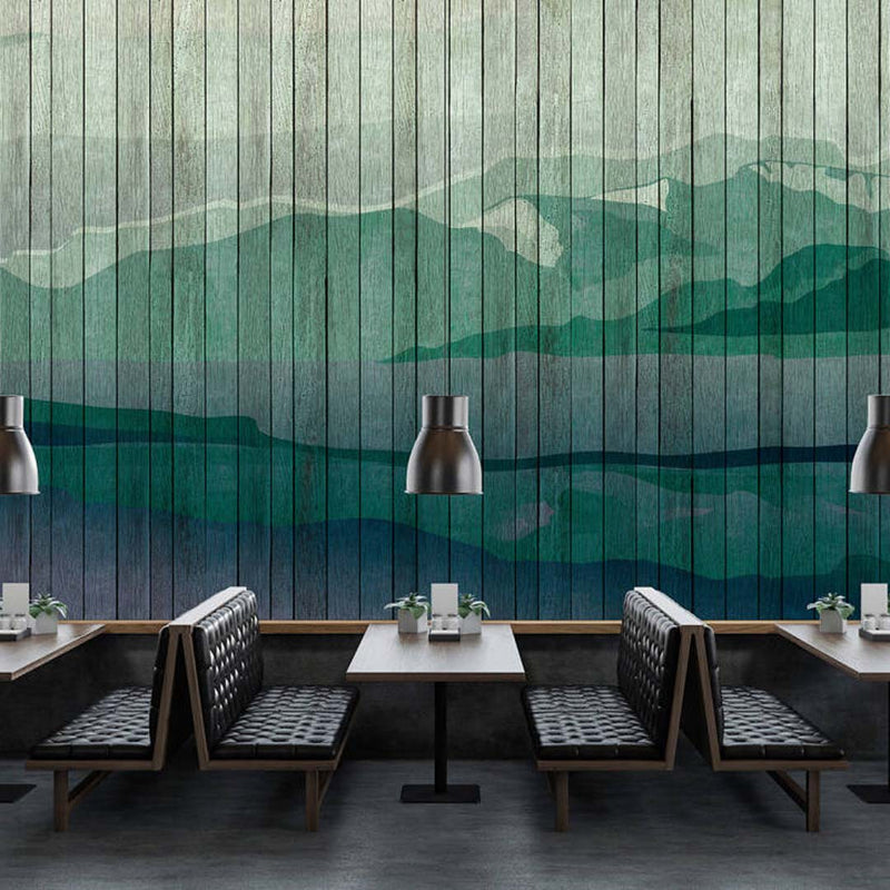 Wooden Slat Landscape Wallpaper Mural in Green and Blue Tones - Your 4 Walls