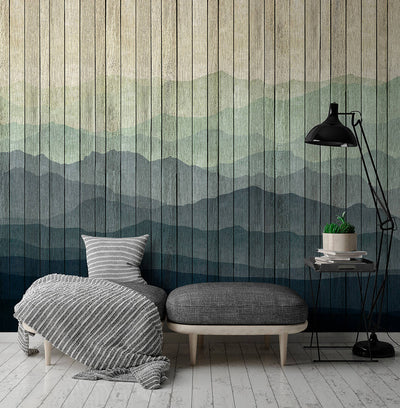 Wooden Slat Landscape Wallpaper Mural in Blue and Green Tones - Your 4 Walls