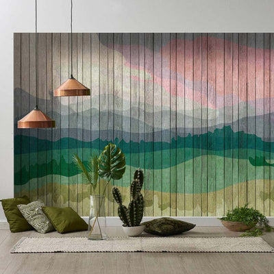 Wooden Slat Landscape Wallpaper Mural in Green and Pink Tones