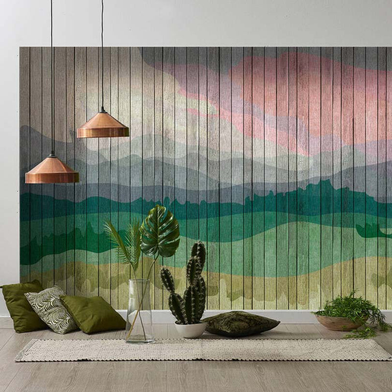 Wooden Slat Landscape Wallpaper Mural in Green and Pink Tones - Your 4 Walls
