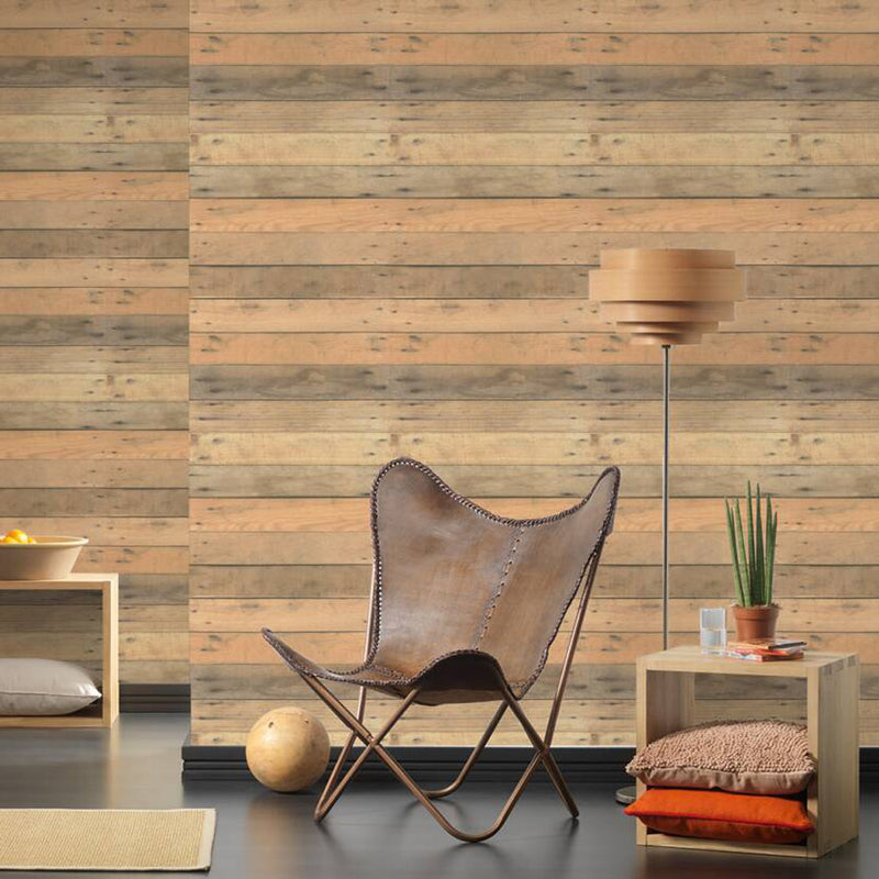Wood Panel Effect Textured Wallpaper in Beige/Brown - Your 4 Walls