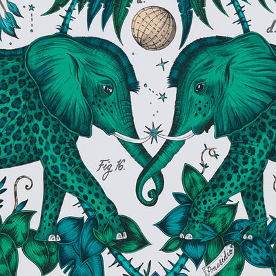 Zambezi Elephant design wallpaper by Designer Emma J Shipley Wilderie | Green - Your 4 Walls