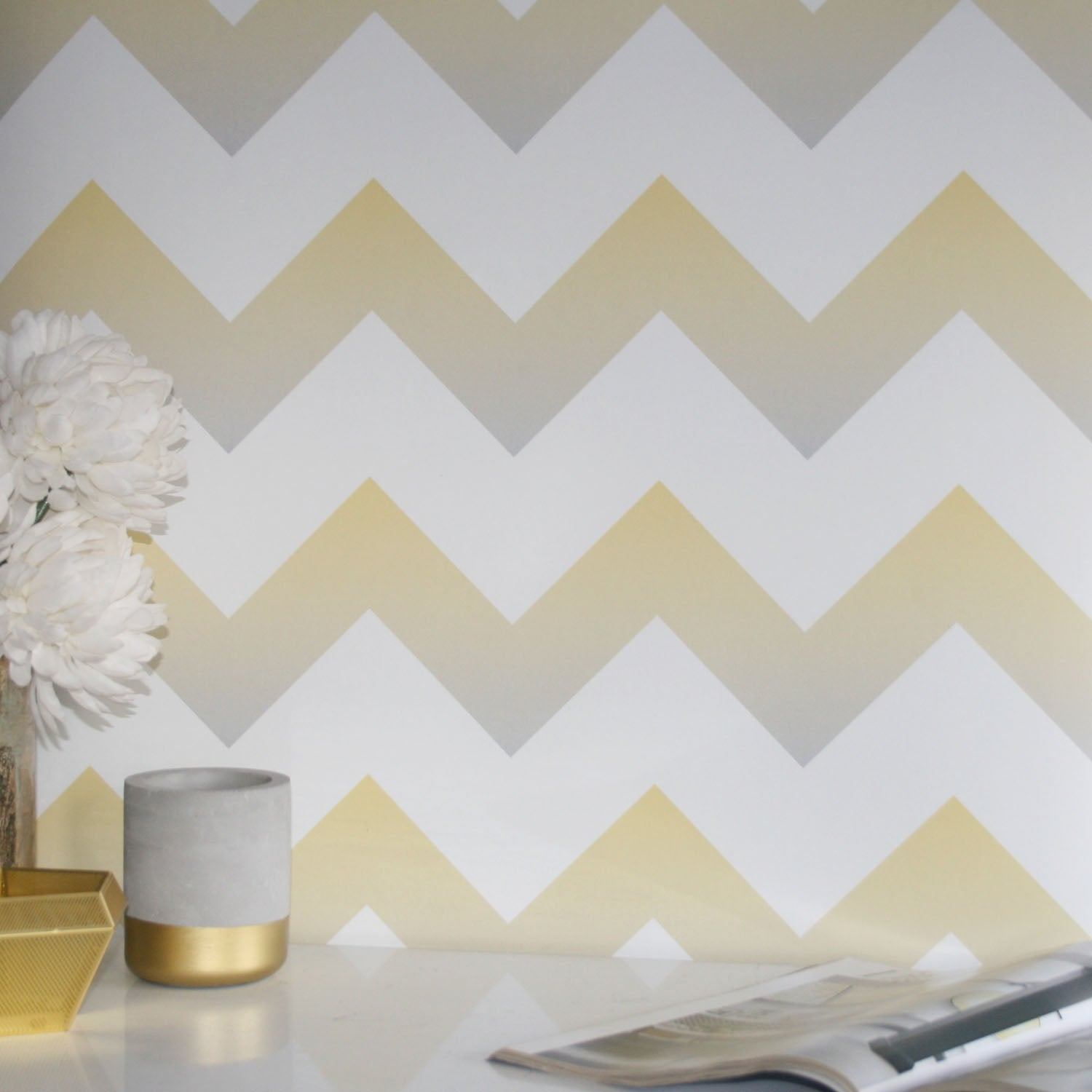 Ziggy |Geometric Ombre Zig Zag Wallpaper in Yellow, Grey & White