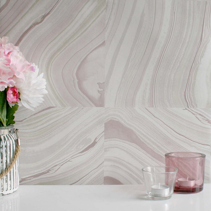 Agate Quartz  / Marble Effect Wallpaper | Mauve, Purple, Pink, Grey, Beige and Pearl