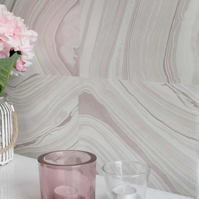 Agate Tile Effect Wallpaper in Mauve, Purple, Pink and Grey (3 rolls for 1 set amount) - Your 4 Walls