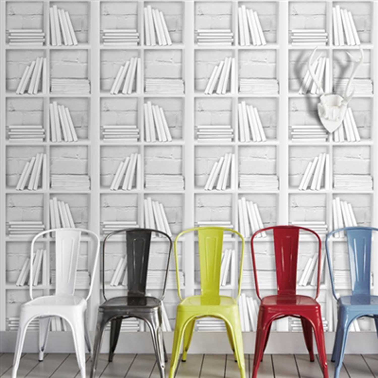 Great Value: Loft Bookcase, Bookcase & Brick Effect Wallpaper |White/Grey
