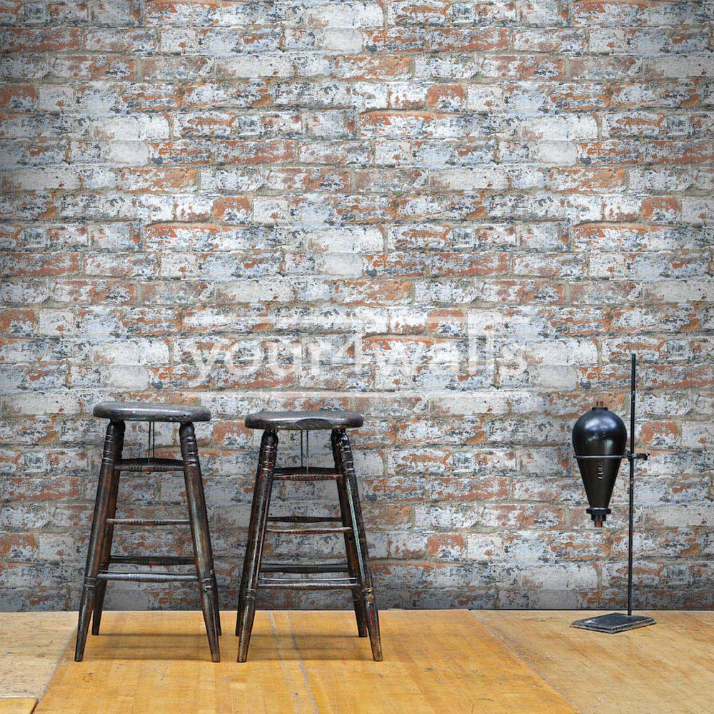 Marseille Reclaimed Brick & Plaster Effect Wallpaper| White & Red - Your 4 Walls