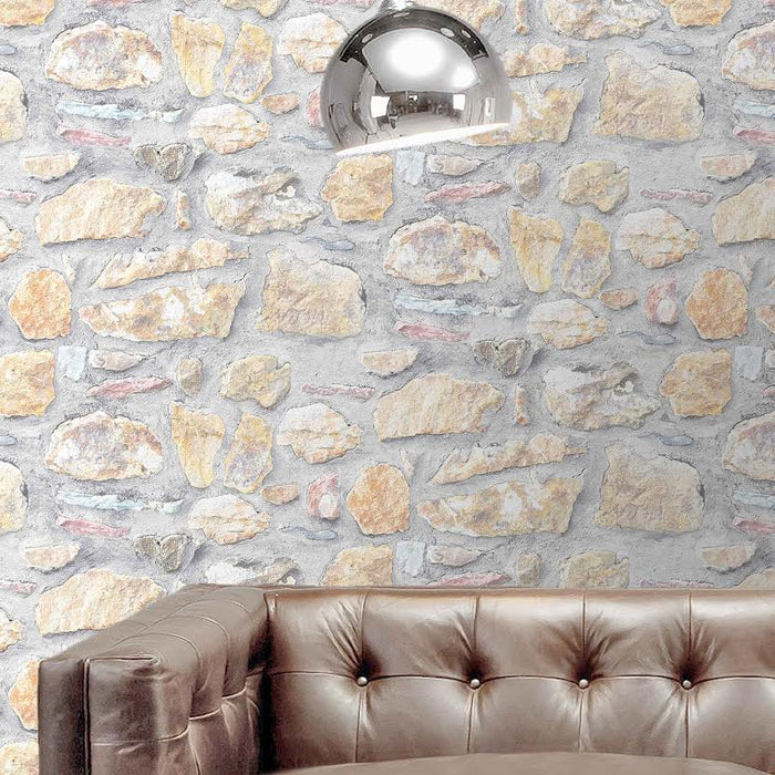 Benllech Stone Effect Wallpaper | Brown/Grey Multi Coloured