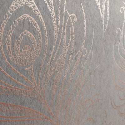 SALE 2 x Rolls Matt and Metallic Copper & Brown peacock feather Wallpaper - Your 4 Walls