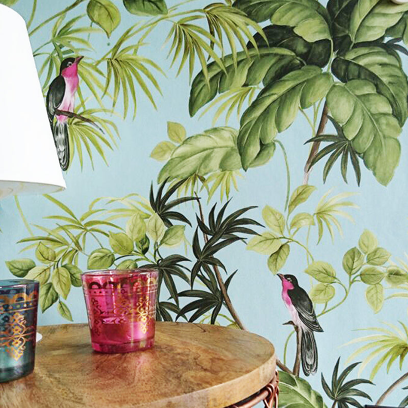 Birds on palms Wallpaper | Duck Egg Blue, Green & Black LAST ROLL - Your 4 Walls