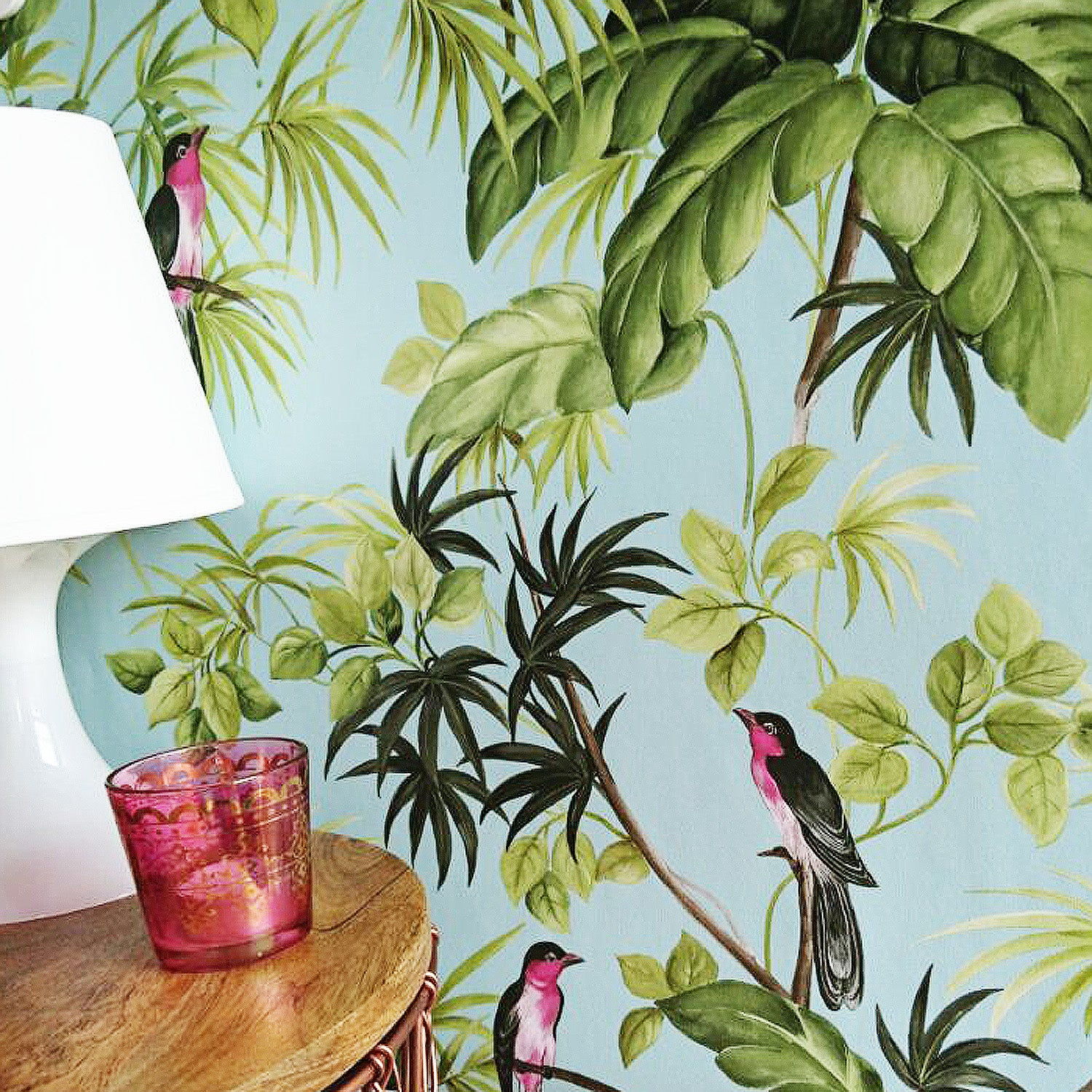Birds on palms Wallpaper | Duck Egg Blue, Green & Black LAST ROLL