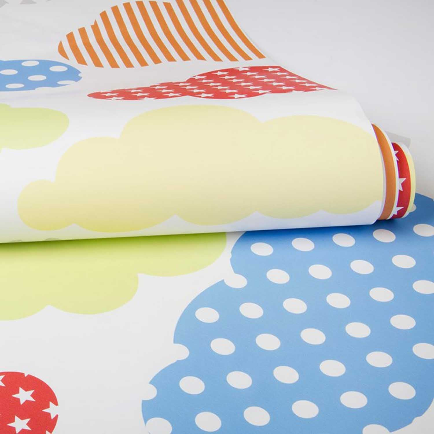 Up up and away Cloud Wallpaper |Mixed Colours & White