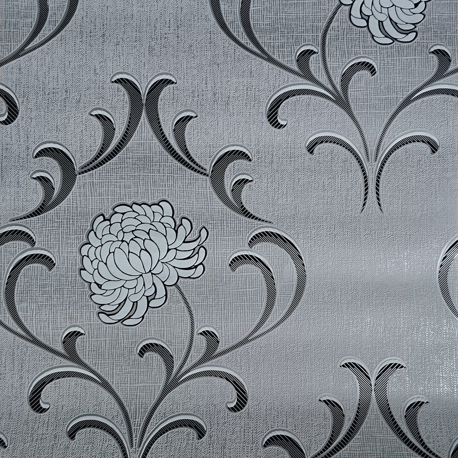 SALE Cameo Floral Luxe Wallpaper | Silver, Grey, Black & White