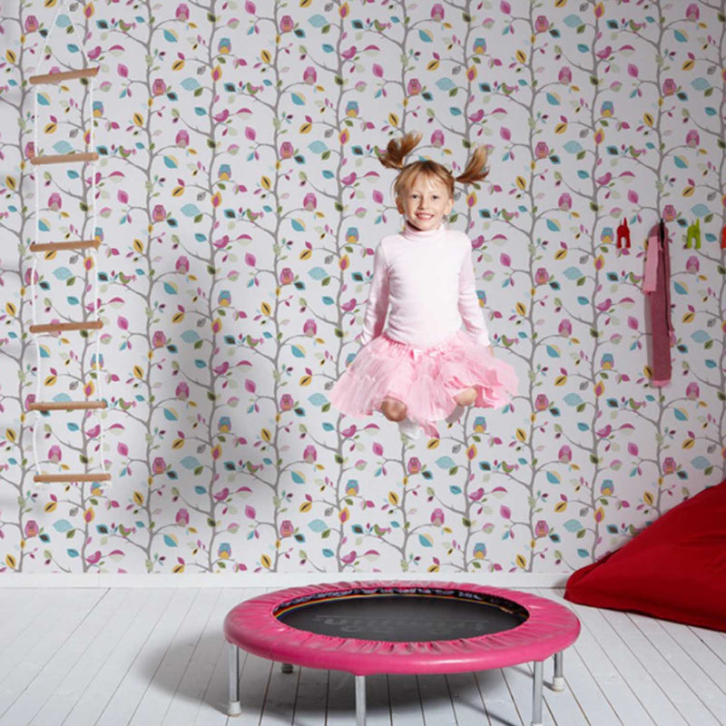 SALE LAST ROLL Owls Children's Wallpaper | Blue, Pink, White & Yellow - Your 4 Walls
