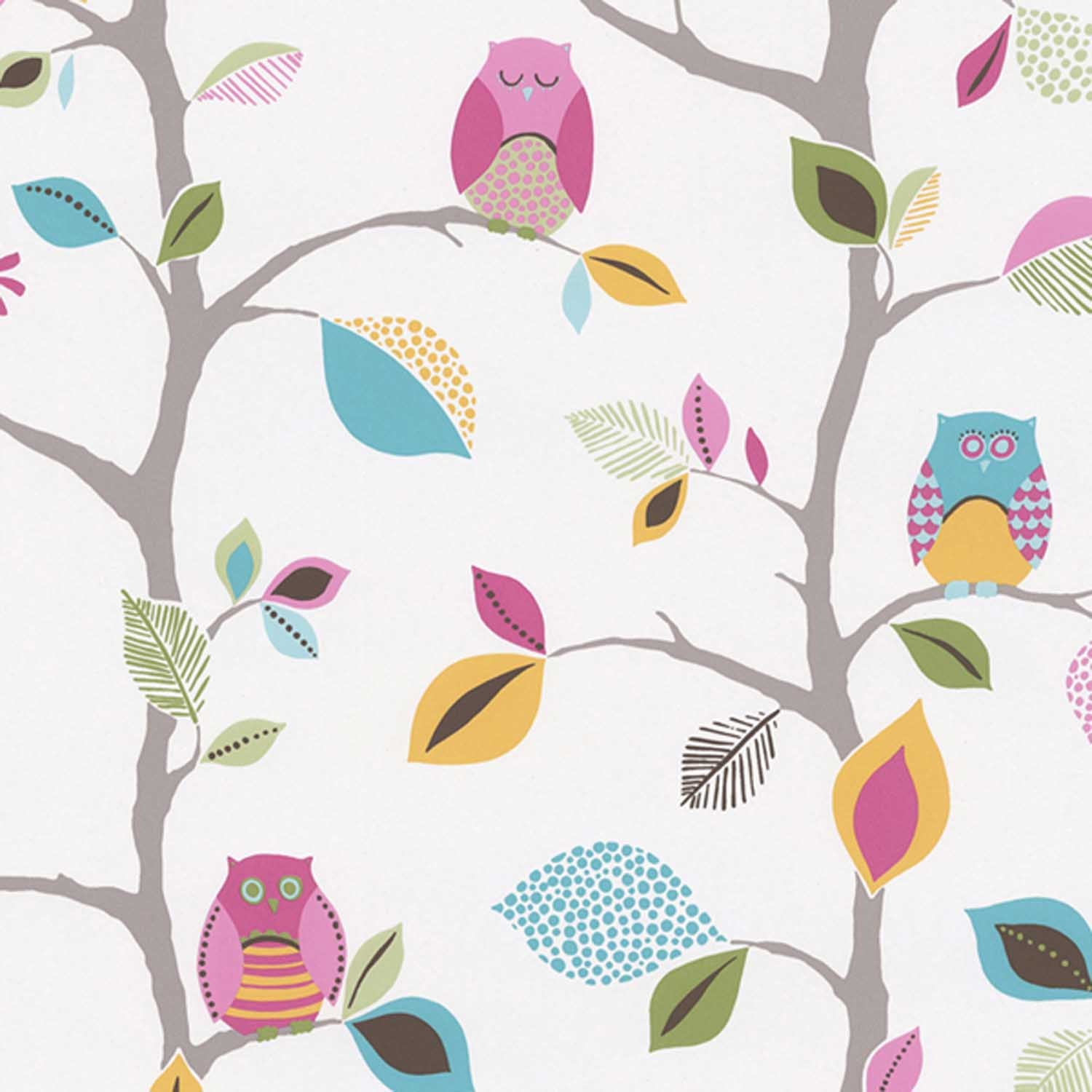 Owls Children's Wallpaper | Blue, Pink, White & Yellow