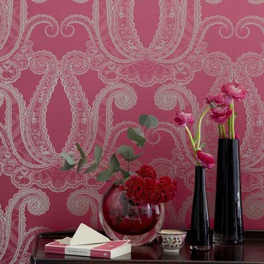 Last Roll Yolande Designer Wallpaper in Metallic Gold and Magenta Pink - Your 4 Walls