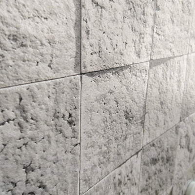 Concrete Square Tile Effect Wallpaper in Light Grey / Silver - Your 4 Walls