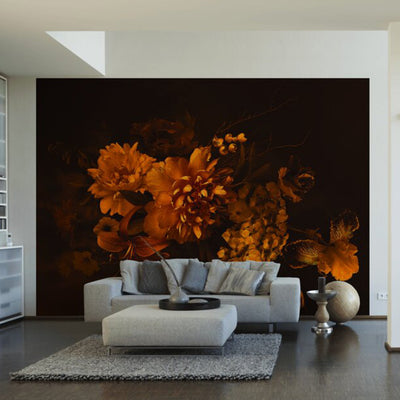 Old Fashioned Beauty, Floral Wallpaper Mural in Black, Brown & Yellow/Orange - Your 4 Walls