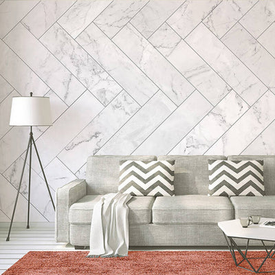 Herringbone Marble Tiles Wallpaper Mural in White & Grey - Your 4 Walls
