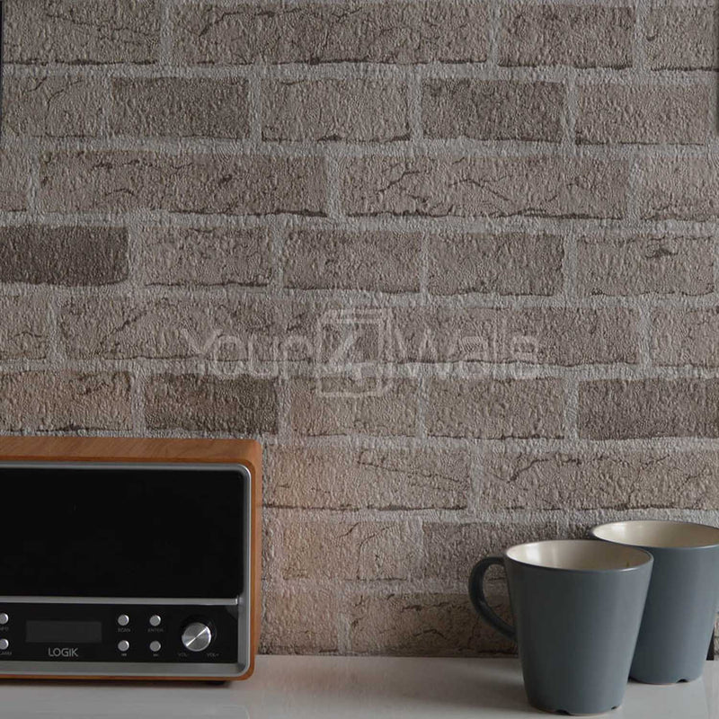 Embossed Brick Effect Wallpaper | Sand / Stone Beige 3 Rolls For £25 - Your 4 Walls