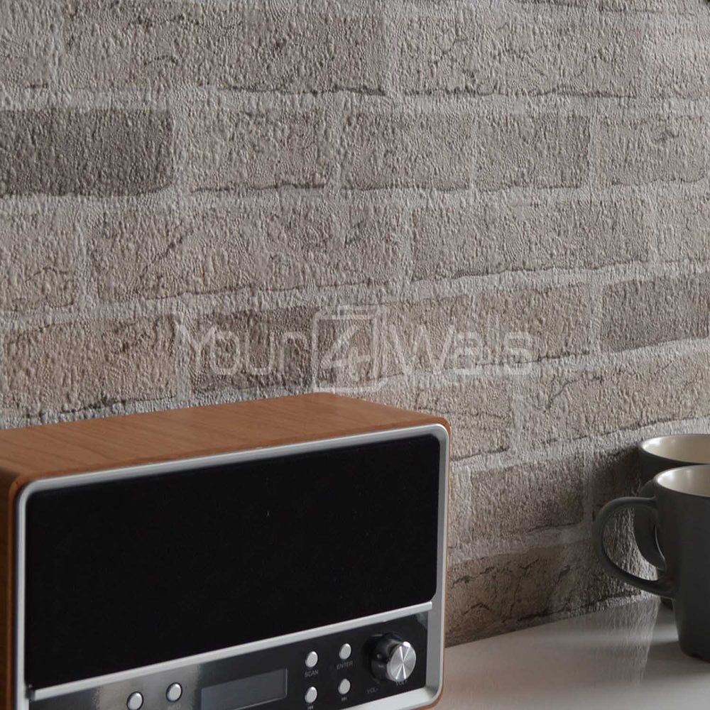 LAST ROLL Embossed Brick Effect Wallpaper | Sand / Stone Beige - Your 4 Walls