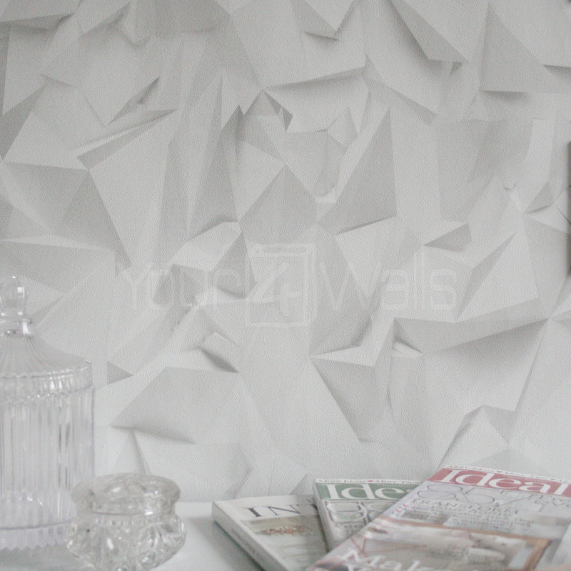 Origami Effect Geometric Wallpaper in Off White and Grey - Your 4 Walls