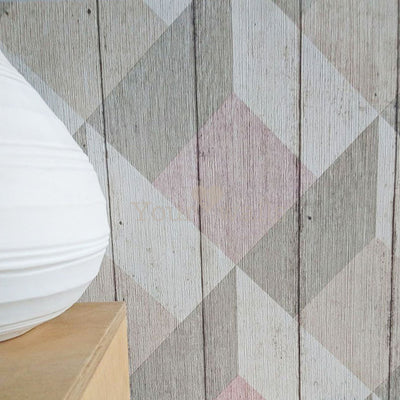 2 ROLLS FOR 1 PRICE OF £20 Geometric Wood Effect Textured Wallpaper | Pink, Beige & White - Your 4 Walls