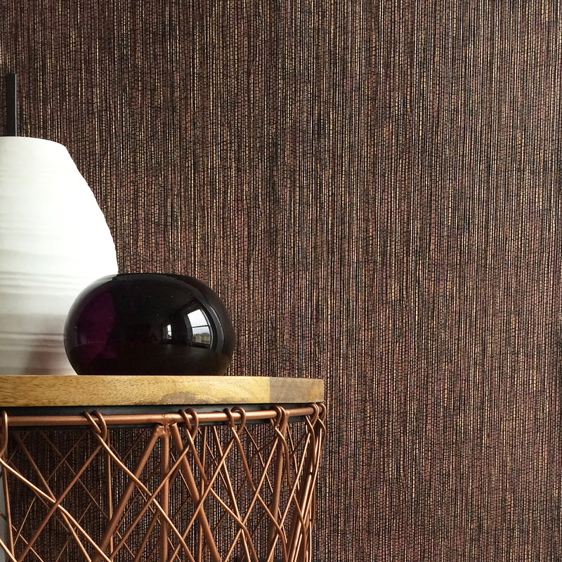 Grasscloth Effect | Metallic Copper & Burgundy Wallpaper - Your 4 Walls