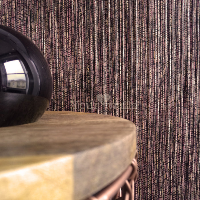 Grasscloth Effect | Metallic Copper & Burgundy Wallpaper