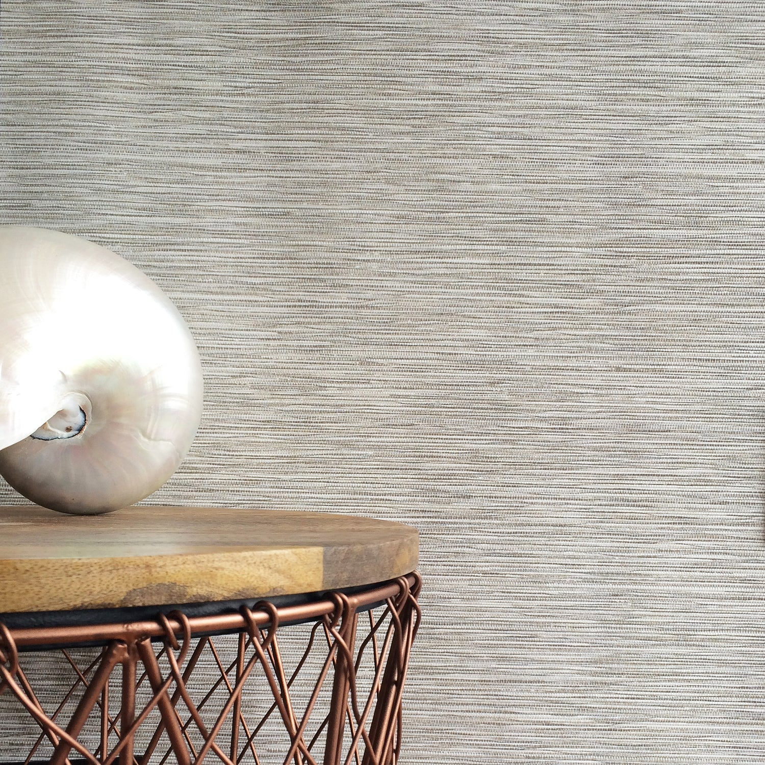 Grasscloth Effect| Metallic Off White & Natural Wallpaper
