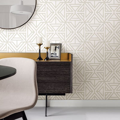 Triangle Geometric Wallpaper in Light Grey & White