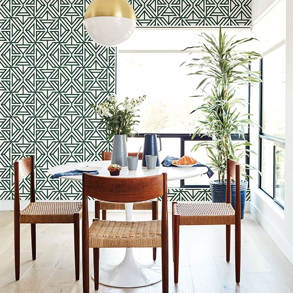 Triangle Geometric Flock Wallpaper in Green & Taupe 2 X ROLLS FOR 1 set amount - Your 4 Walls