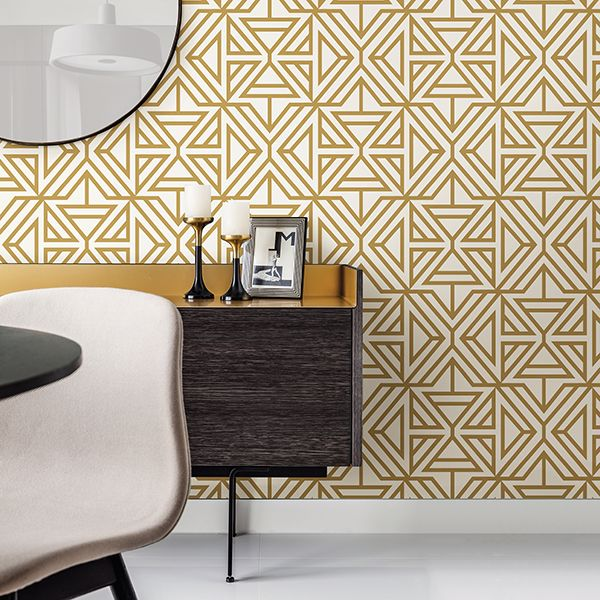 Triangle Geometric Flock Wallpaper in Mustard Yellow & Off White - Your 4 Walls