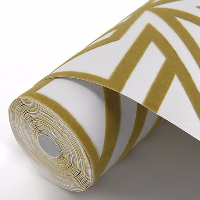Triangle Geometric Flock Wallpaper in Mustard Yellow & Off White