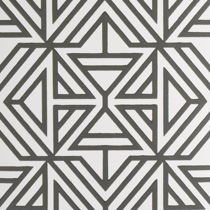 Triangle Geometric Flock Wallpaper in Grey & Off White
