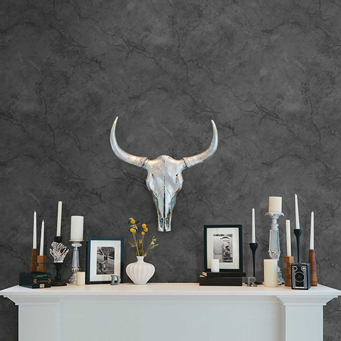 Marble Effect Wallpaper | Black & Charcoal