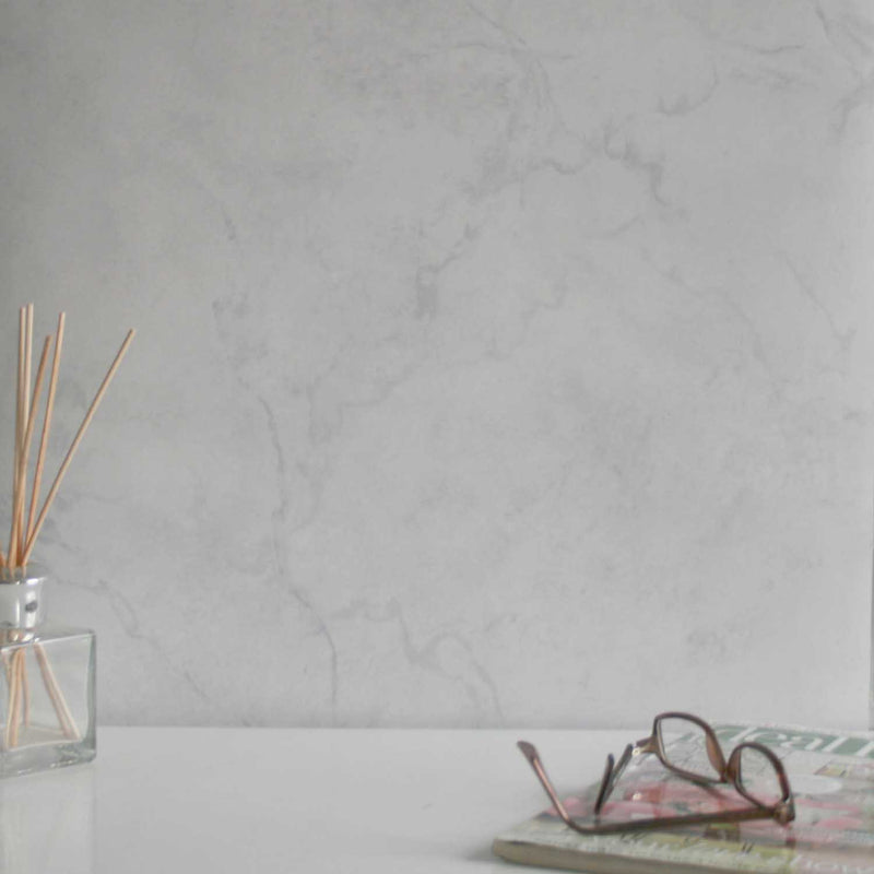Marble Effect Wallpaper | Light Grey & White - Your 4 Walls