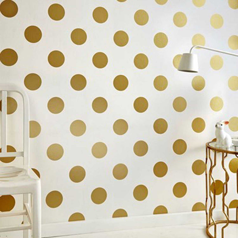 Polka Dots/Spots Wallpaper | Gold & White - Your 4 Walls