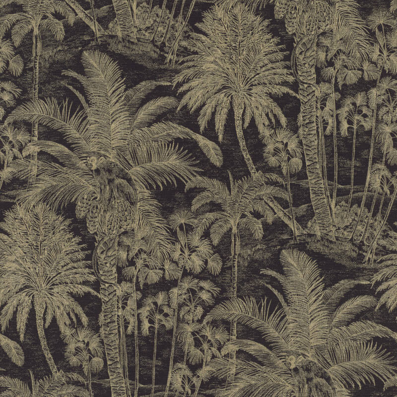 Monkeys in Palm Tree design Wallpaper in Back & Gold - Your 4 Walls
