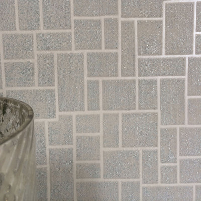 SALE Opulent Tile | Silver, Natural Taupe/Grey & Metallic Geometric Tile Wallpaper - Your 4 Walls