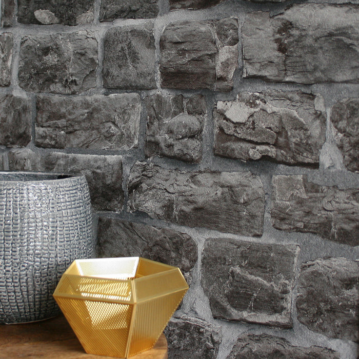Reclaimed Stone Brick | Wallpaper in Charcoal, Grey & Black