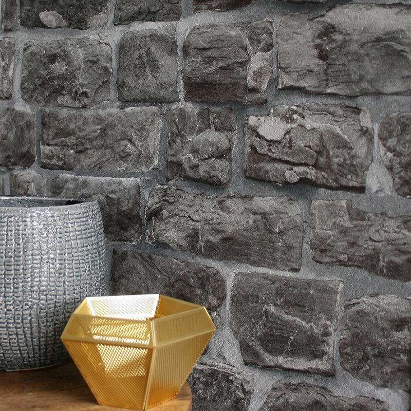 Reclaimed Stone Brick | Wallpaper in Charcoal, Grey & Black - Your 4 Walls